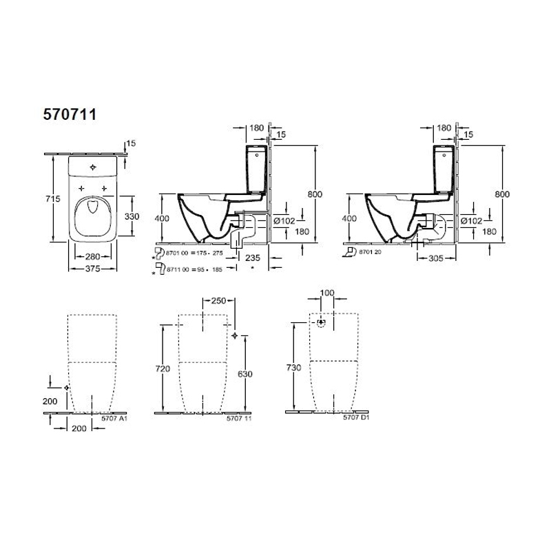 Rezervor monobloc pentru vas WC compact, Venticello