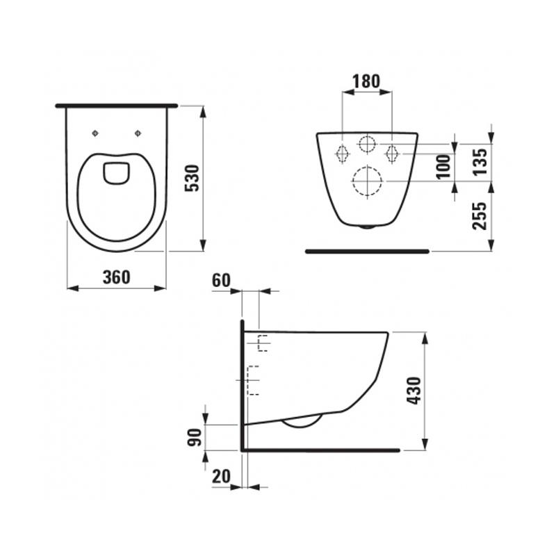 Desen tehnic pentru vas WC suspendat, alb, Pro