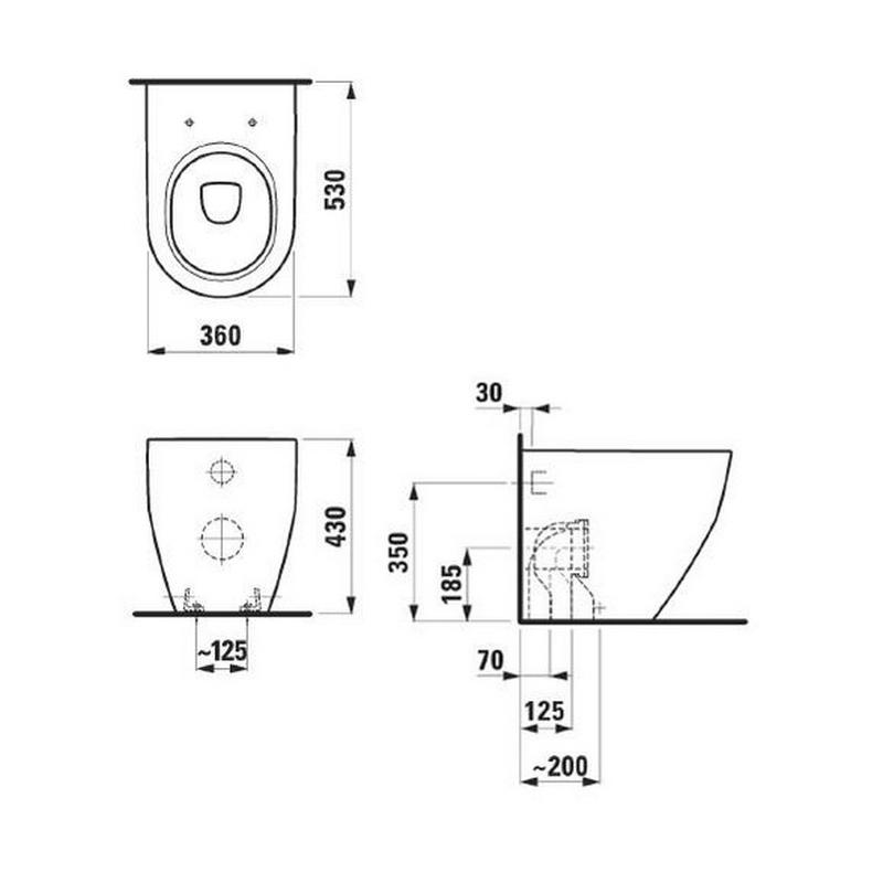 Desen tehnic, Vas WC stativ, frezat, cu iesire universala, alb, Pro