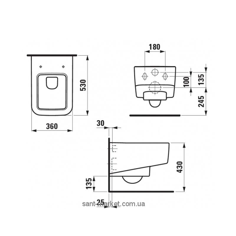 Desen tehnic pentru vas WC suspendat, alb, Pro S