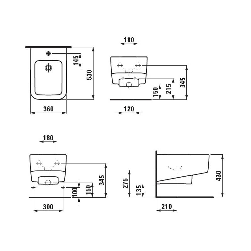 Desen tehnic pentru bideu suspendat, alb, Pro S