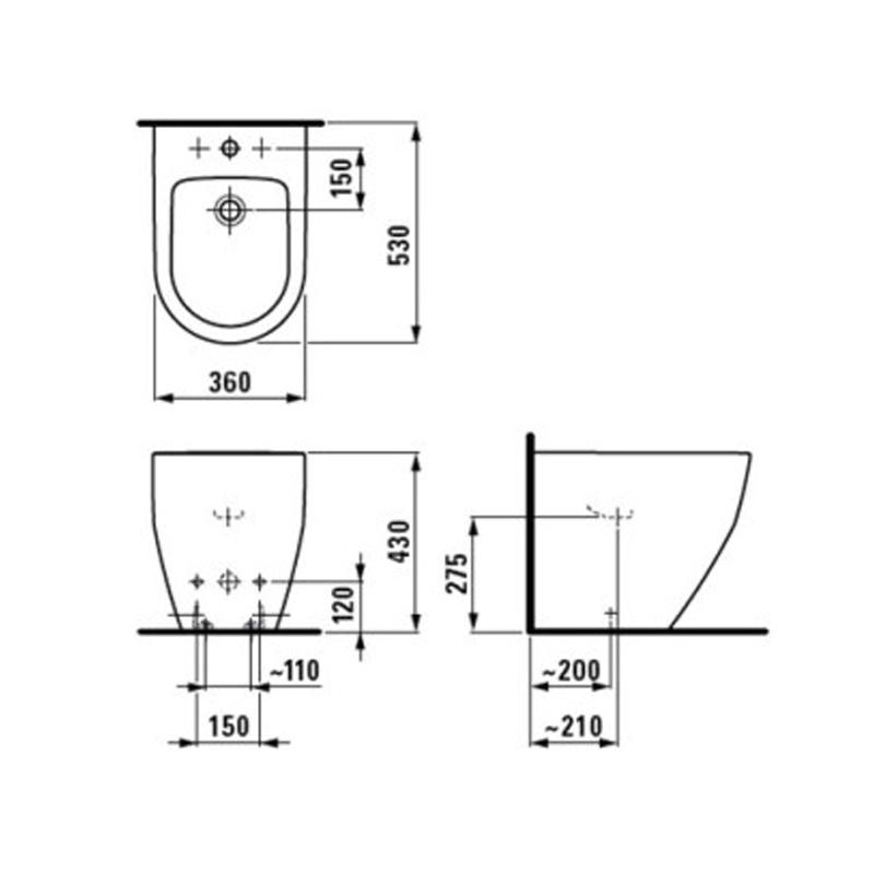 Desen tehnic pentru bideu stativ cu orificiu baterie, alb, Pro