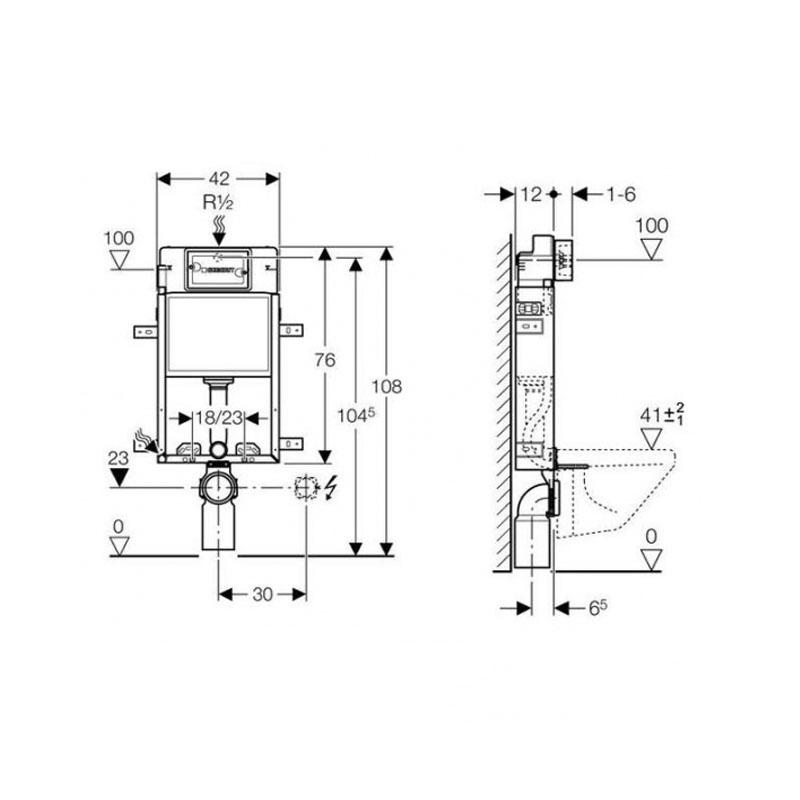 Rama Geberit, Kombifix, pentru WC suspendat, 108 cm, cu rezervor incastrat Delta 12 cm