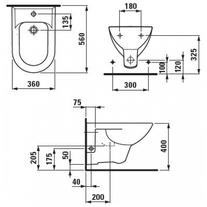 Desen tehnic pentru bideu suspendat cu orificiu pentru baterie, alb, Pro