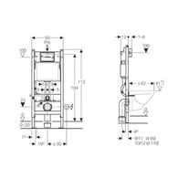 Schita Rama Geberit Duofix, pentru WC suspendat, cu rezervor incastrat Delta 12cm