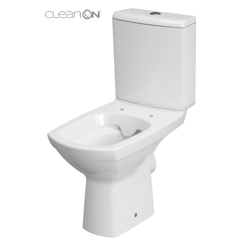Vas WC compact Clean On, cu capac Soft Close, alb