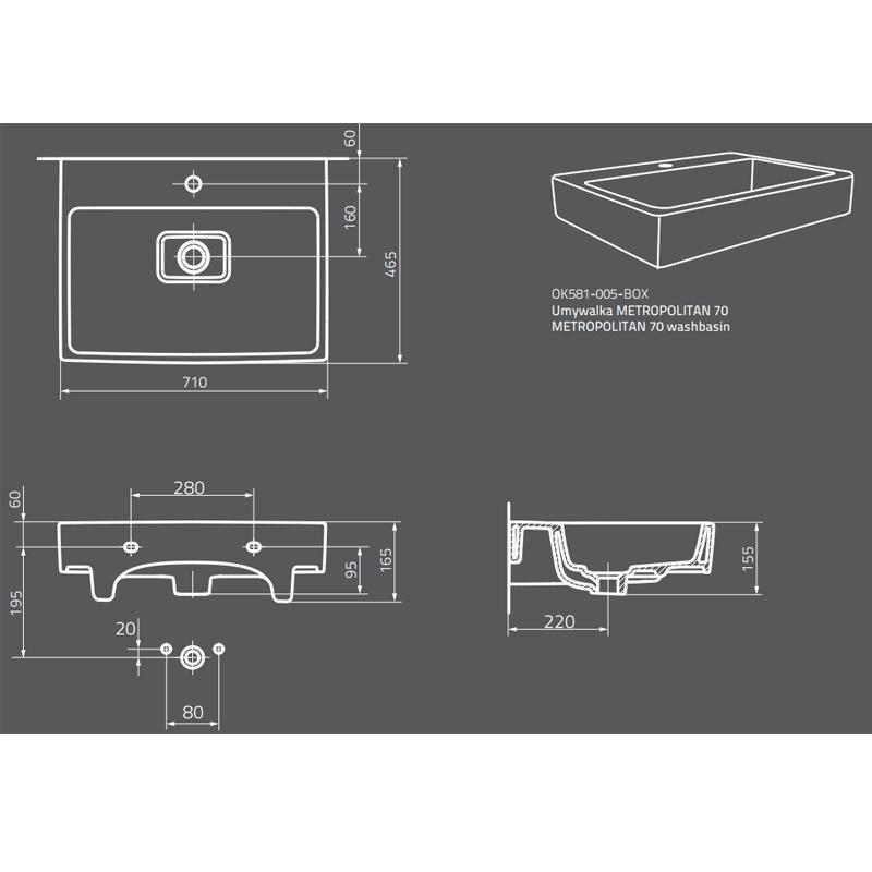 Desen tehnic, Lavoar dreptunghiular, alb, Metropolitan