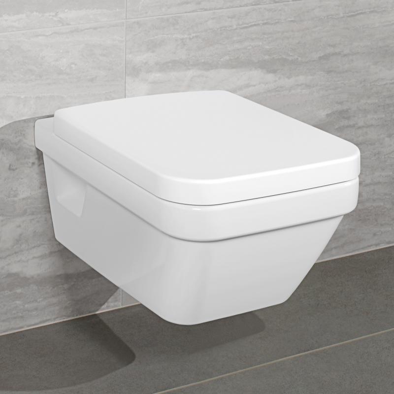 Set vas WC suspendat Villeroy & Boch, Architectura, direct flush, dreptunghiular, cu capac soft close, quick release, alb