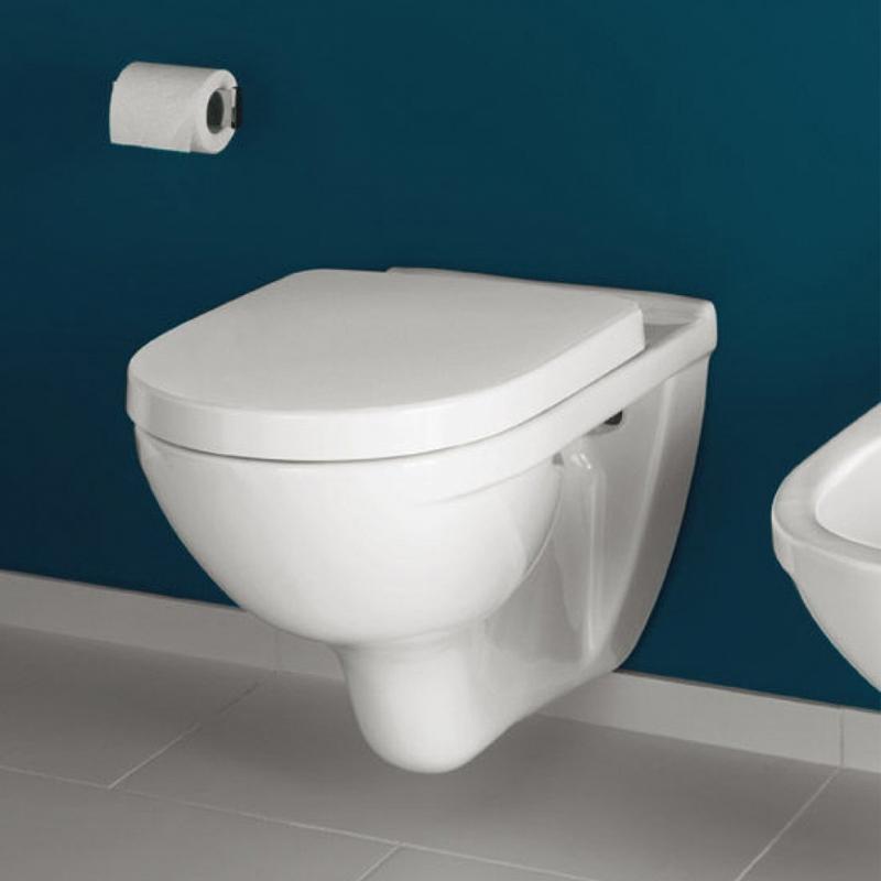 Set vas WC suspendat Villeroy & Boch, O.Novo, direct flush, cu capac soft close si quick release, alb