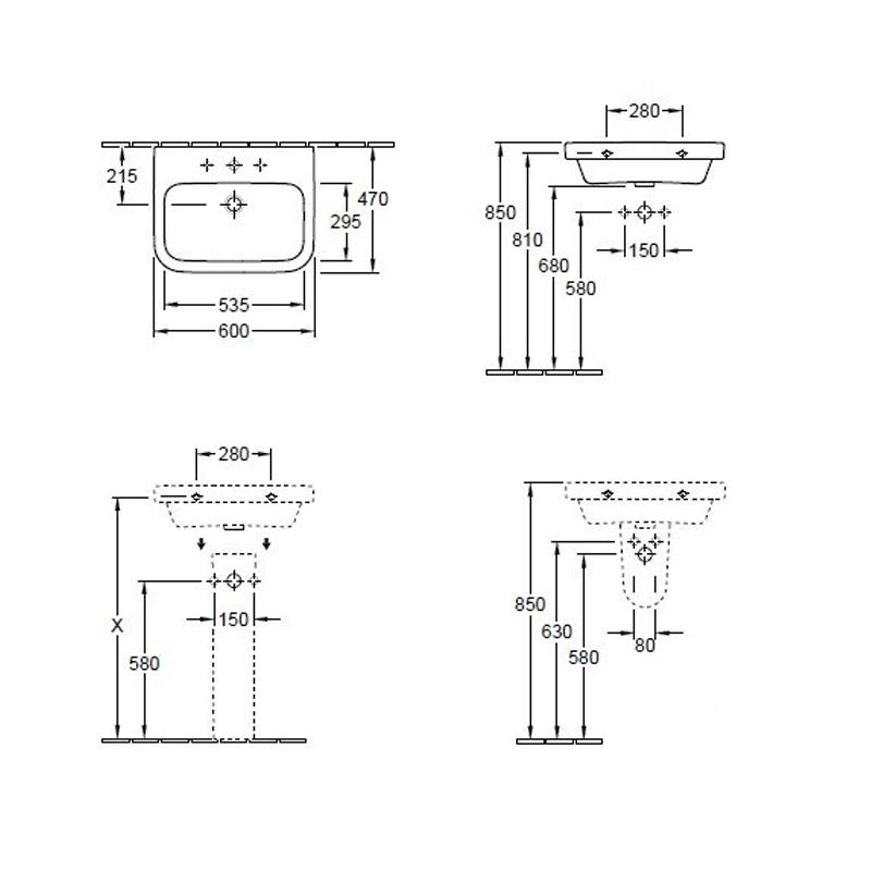 Lavoar dreptunghiular, 60 cm, alb alpin, Arhitectura