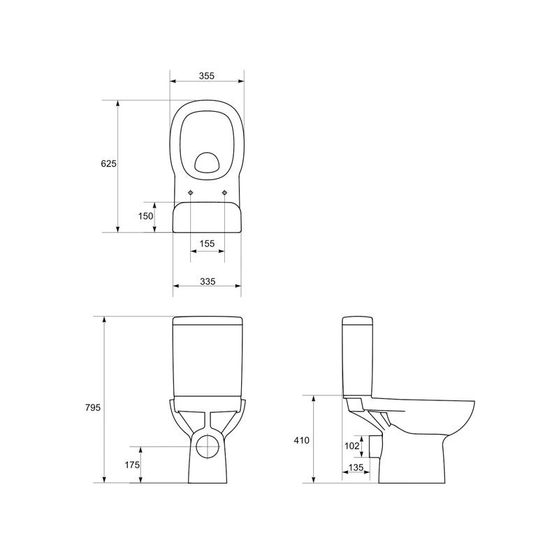 Vas WC stativ, compact, Facile, schita