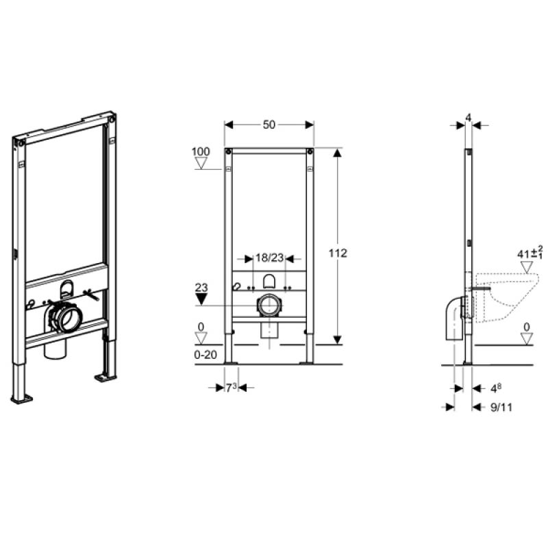 Rama DUOFIX pentru vas WC suspendat, h.112 cm