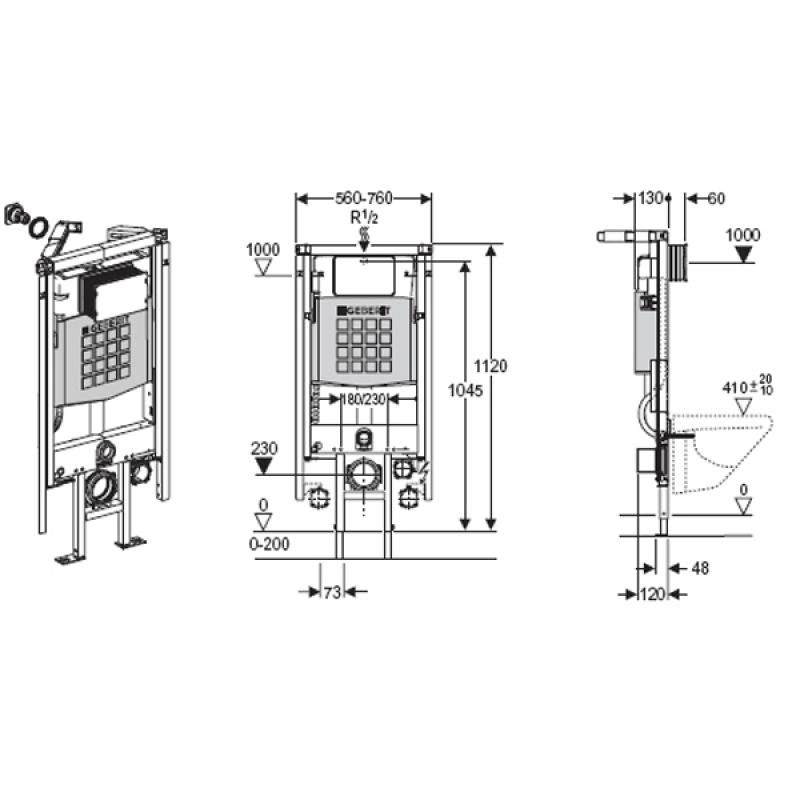 Rama DUOFIX pentru vas WC suspendat, h.112 cm, montat pe colt