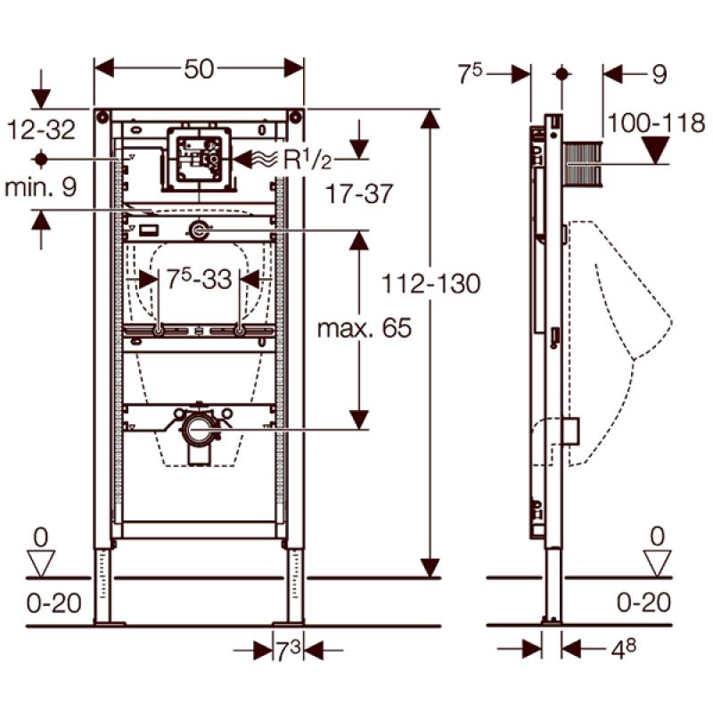 Schita tehnica rama Geberit, Duofix, pentru pisoar, 130 cm, universal