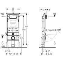 Rama pentru WC suspendat, 112 cm, actionare din fata, Duofix