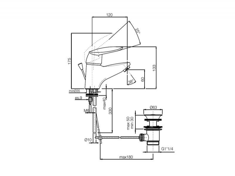 Desen tehnic baterie lavoar, SERIE 2