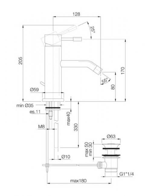 Desen tehnic baterie lavoar, SPILLO