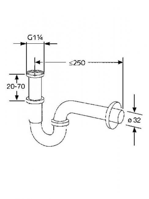 Desen tehnic sifon pentru lavoar