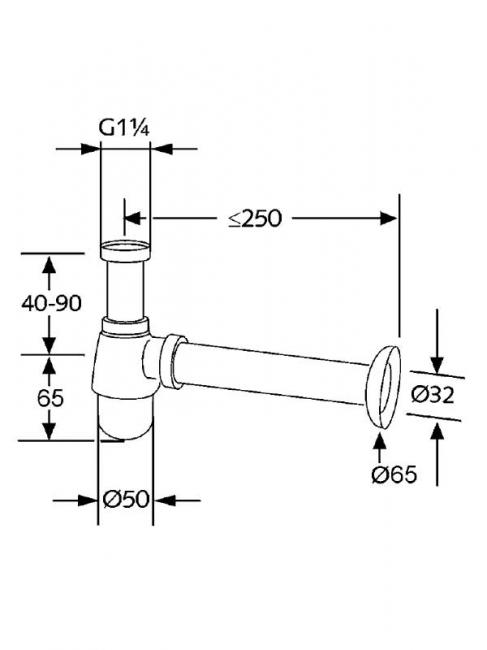 Desen tehnic sifon cu pahar pentru bideu