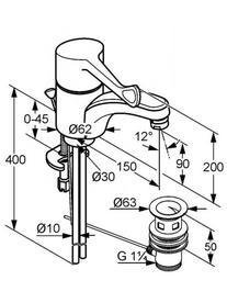 Desen tehnic baterie lavoar cu maner clinic, MEDI CARE
