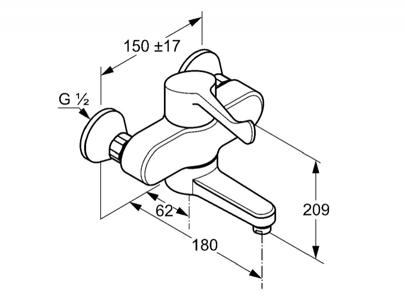 Desen tehnic, baterie monocomanda de perete