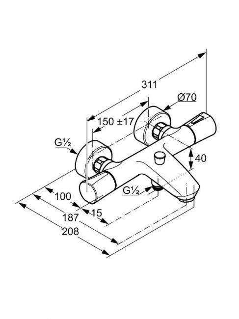 Desen tehnic baterie cada cu termostat, ZENTA