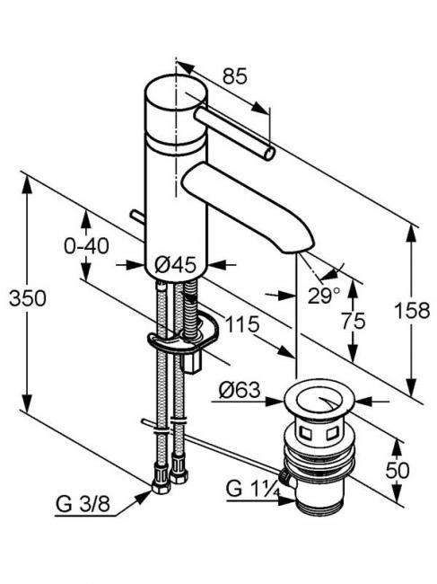 Desen tehnic baterie lavoar, BOZZ