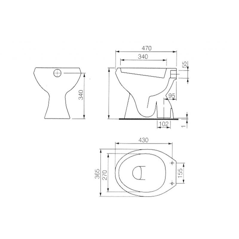 Vas WC stativ, alb, Roca, schita