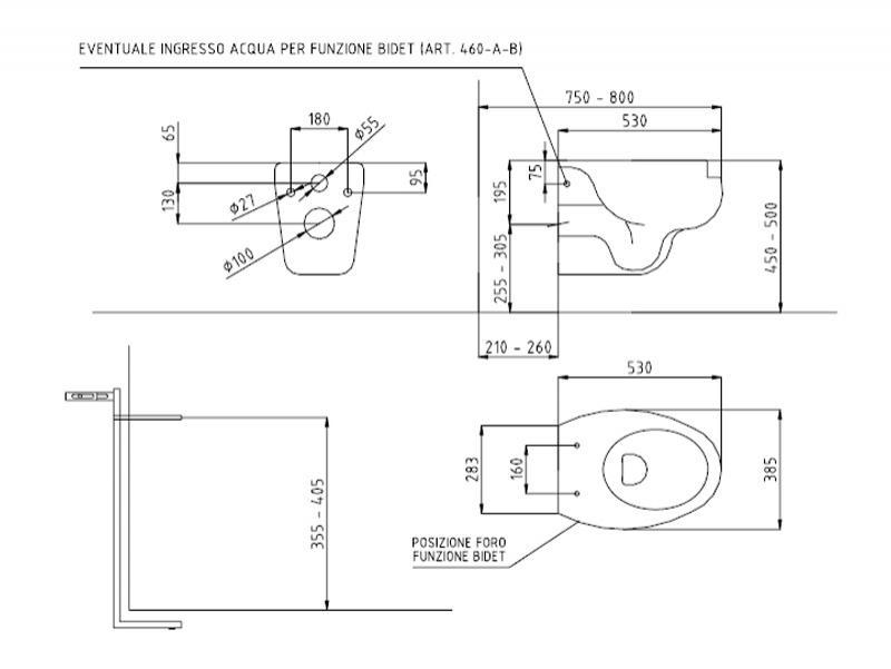 Desen Tehnic, vas wc - bideu suspendat cu deschidere frontala, Thermomat
