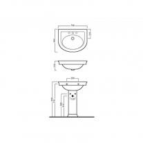 Lavoar-suspendat-Hatria-Dolcevita-70 cm-schita-tehnica