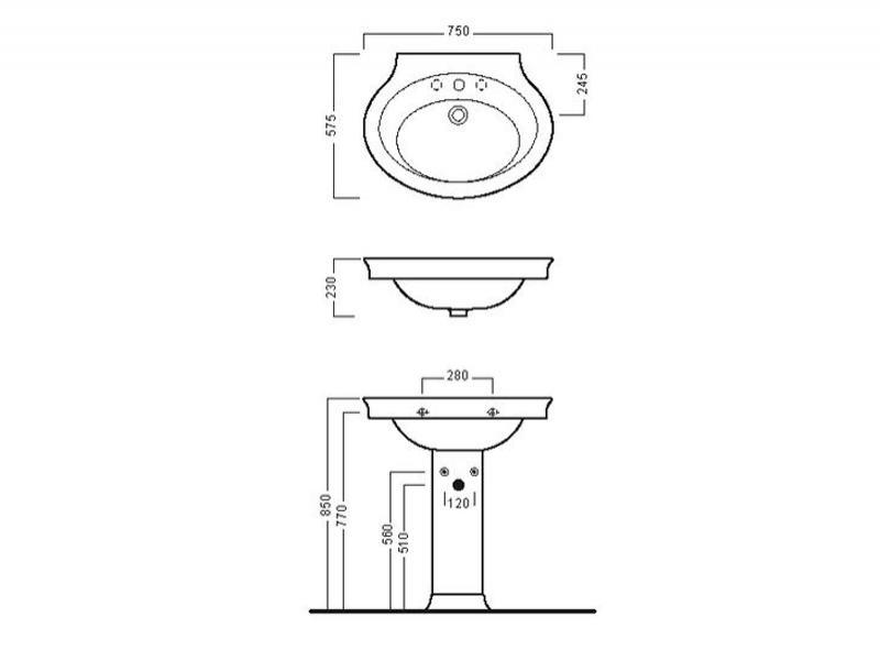 Desen tehnic lavoar 75 cm