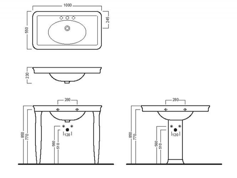 Desen tehnic lavoar 100 cm