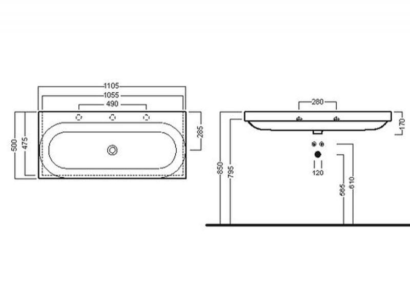 Desen tehnic lavoar 110 cm cu 3 găuri