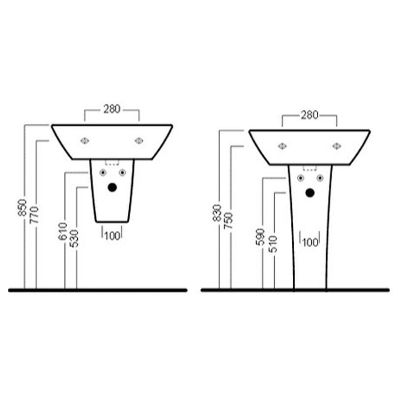 Lavoar suspendat Hatria, Nido, 62 cm, alb
