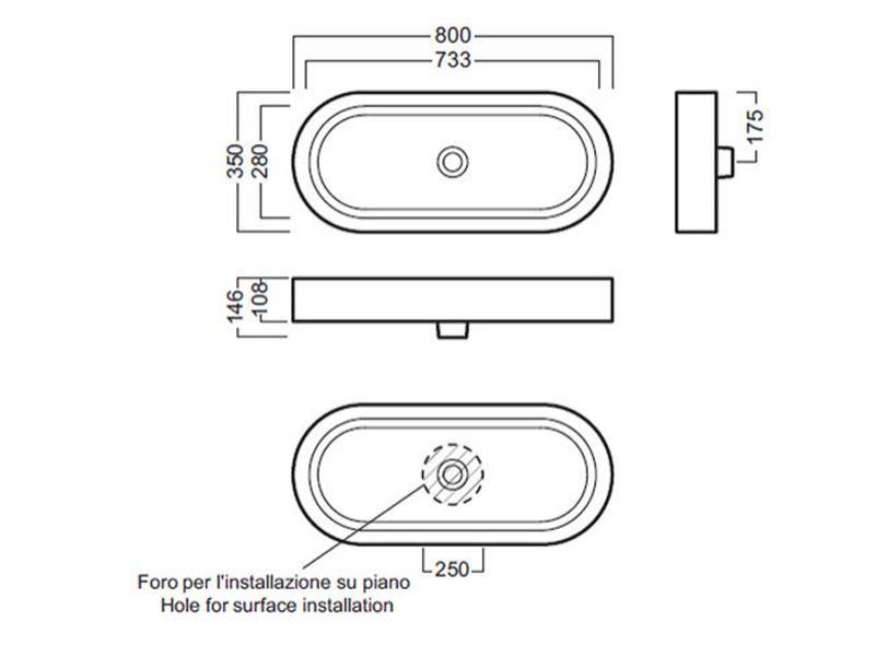 Desen tehnic lavoar 80 cm