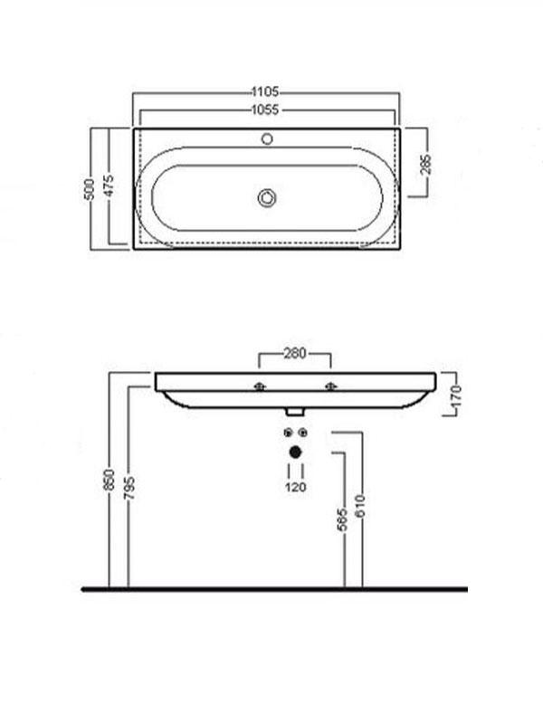 Desen tehnic lavoar suspendat cu o gaura pt baterie, DAY TIME