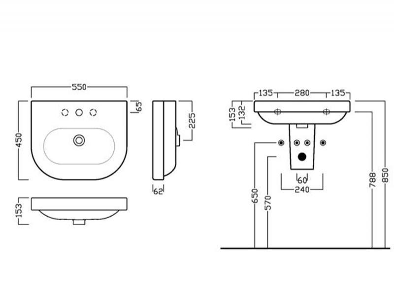 Desen tehnic lavoar 55 cm