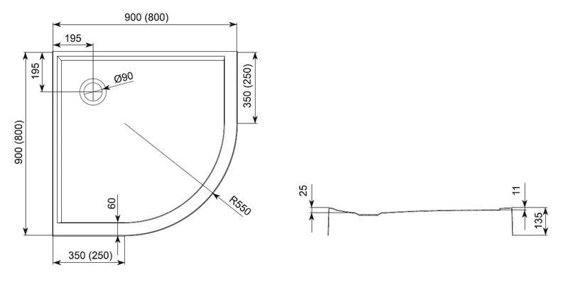 Desen tehnic cadita de dus PLUS 550 - Aquaform