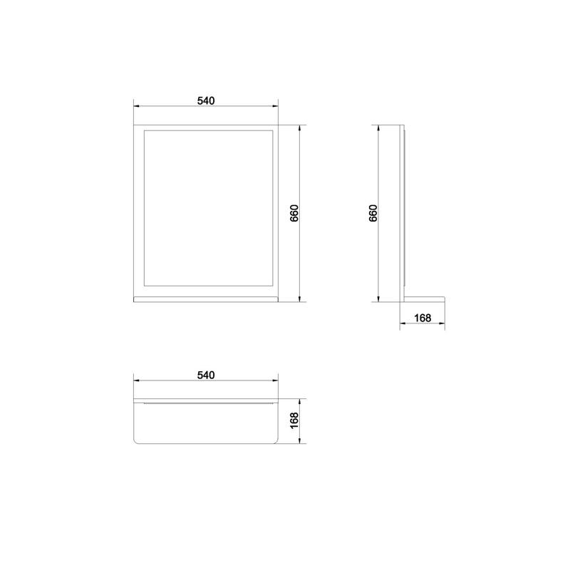Oglinda dreptunghiulara, 54 x 66 cm, alb, Alpina