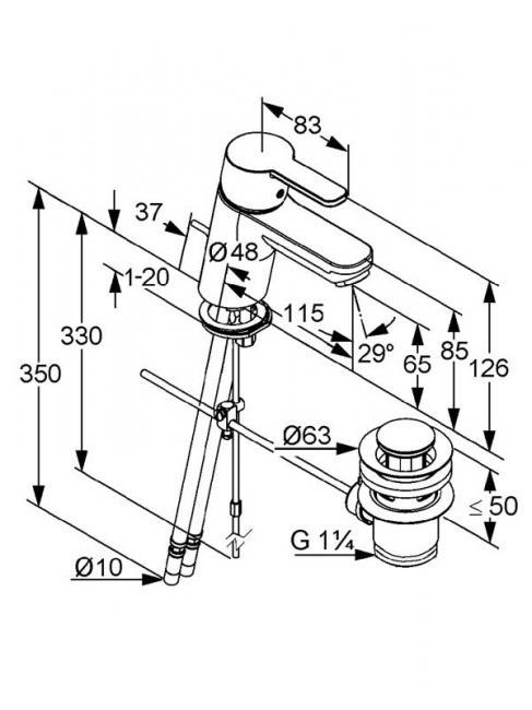 Desen tehnic baterie lavoar cu stut teava, LOGO NEO