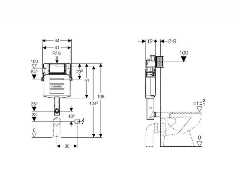 Desen Tehnic, rezervor ingropat Geberit, Sigma, pentru vas WC stativ, 12 cm