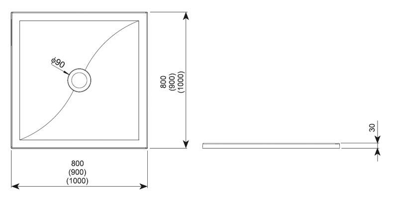 Desen tehnic cadita de dus VERSUS - Aquaform
