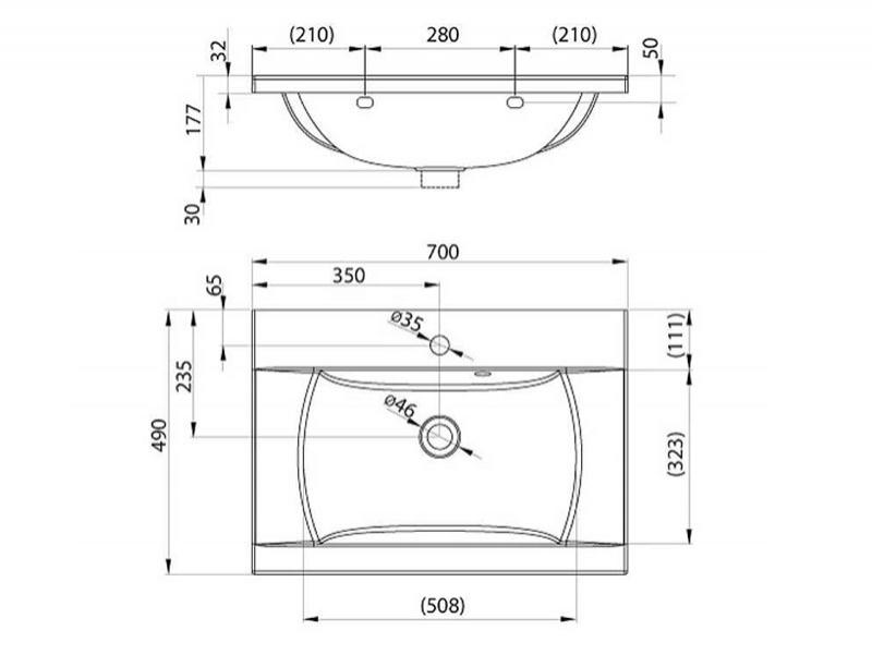 Desen tehnic lavoar CLASSIC 700