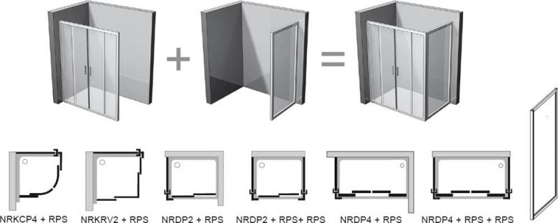 Posibilitati de montaj RAPIER: perete fix + usa de dus