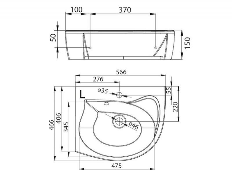 Desen tehnic lavoar de colt ROSA