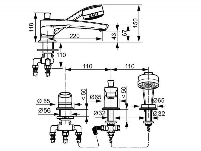 Desen tehnic, baterie cada cu 3 gauri, KLUDI MX