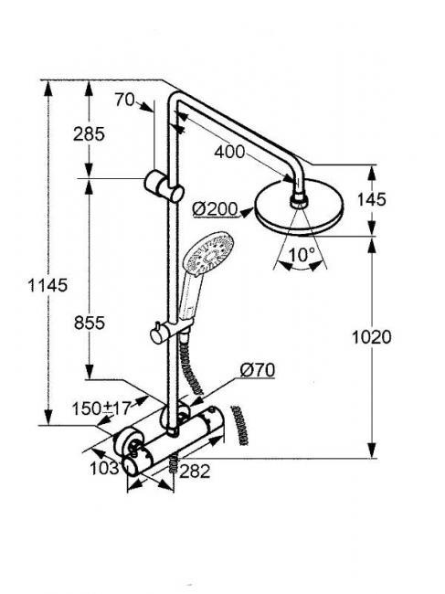 Desen tehnic coloana dus cu cap fix si mobil, cu termostat, A-QA