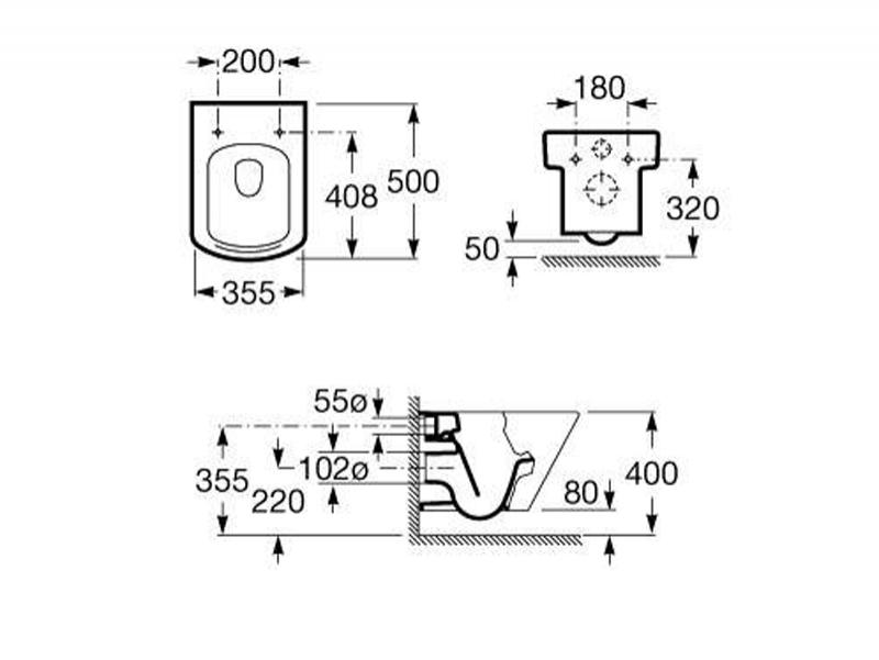Desen tehnic vas WC suspendat