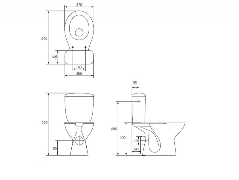 Desen tehnic vas WC cu rezervor