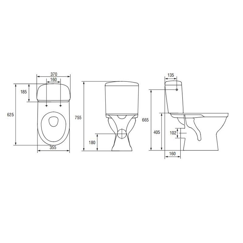 Schita WC compact, Roma